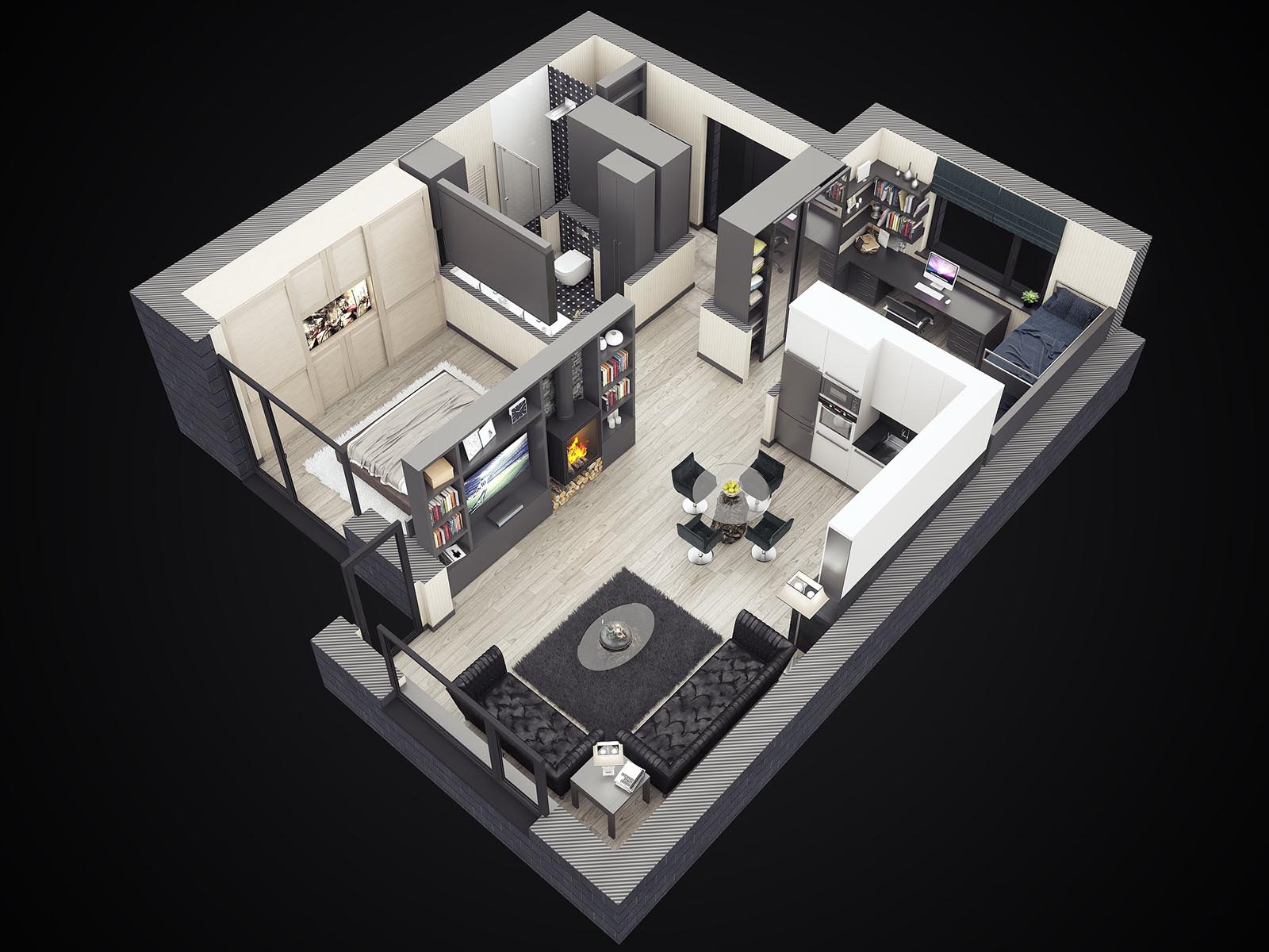 3D visualizations- render of a Cottage Modern interior