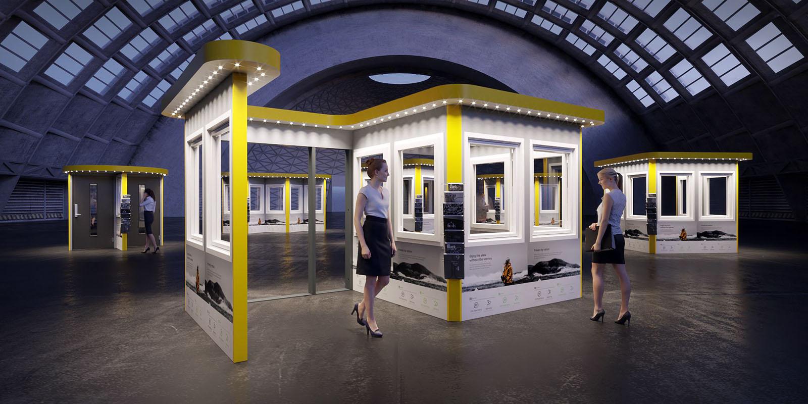 3D Vizualizacija- langų ir durų stendai