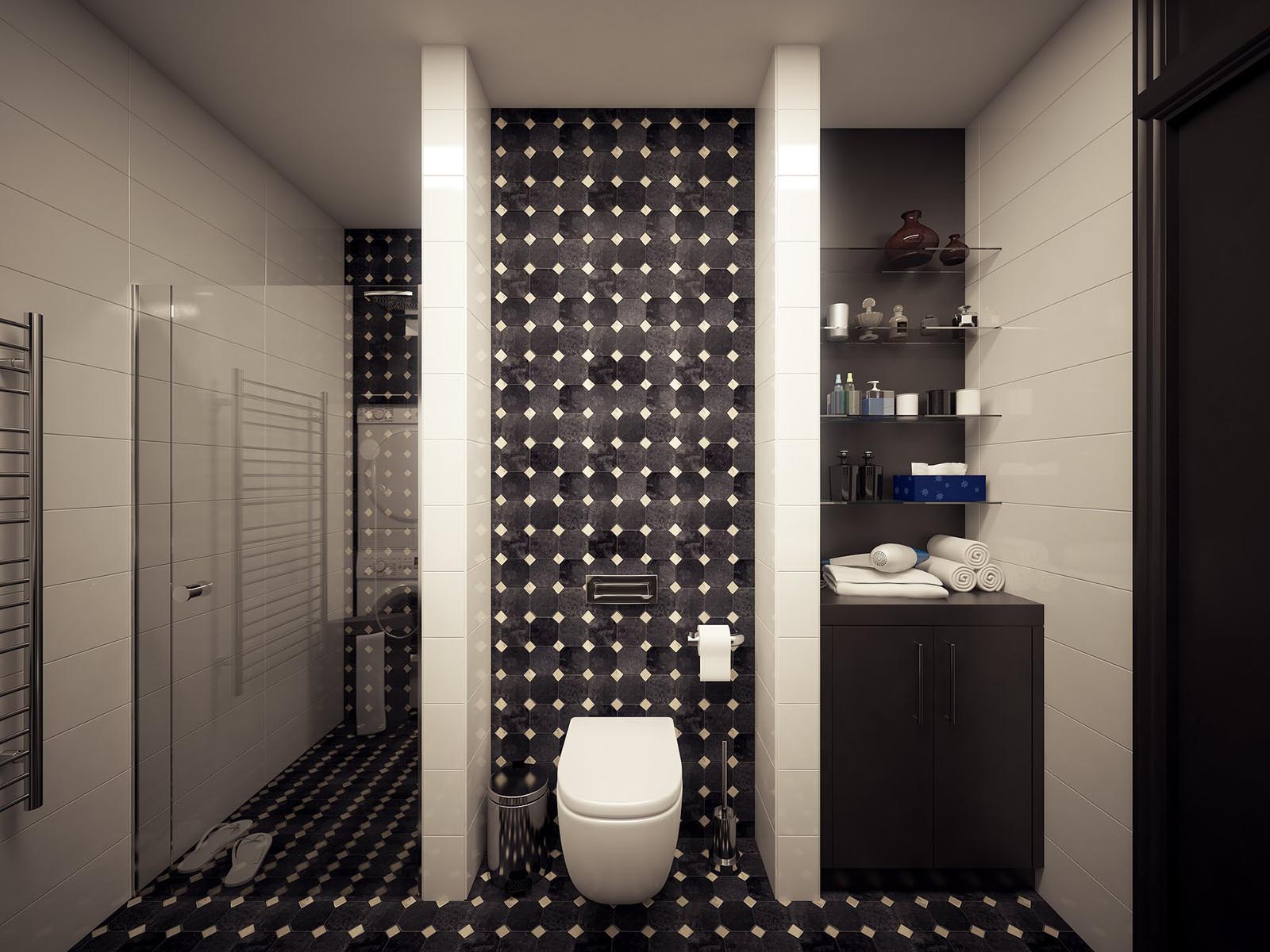 3D interior visualization render of a Modern bathroom-1