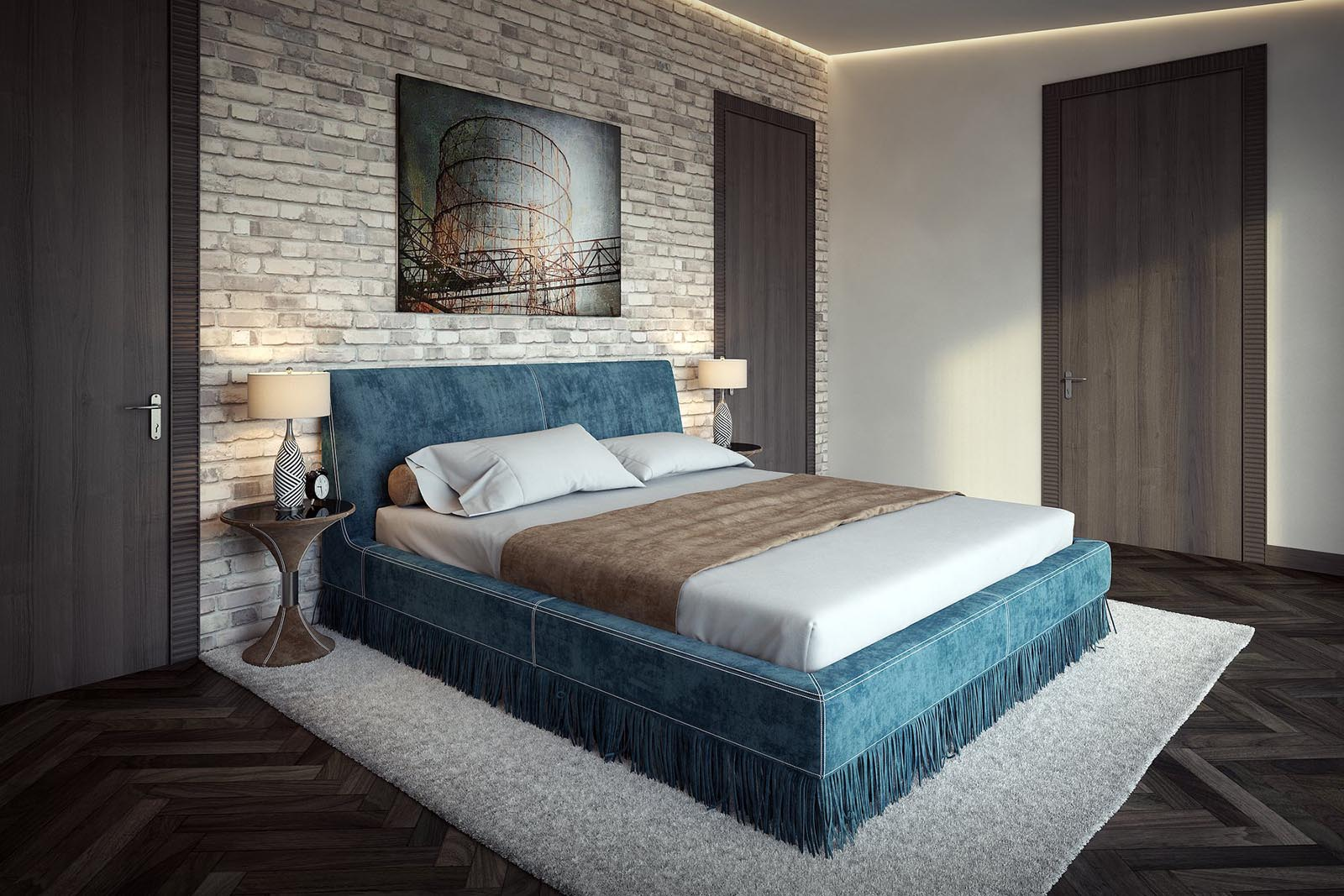 3D Visualization of a Modern bedroom-3