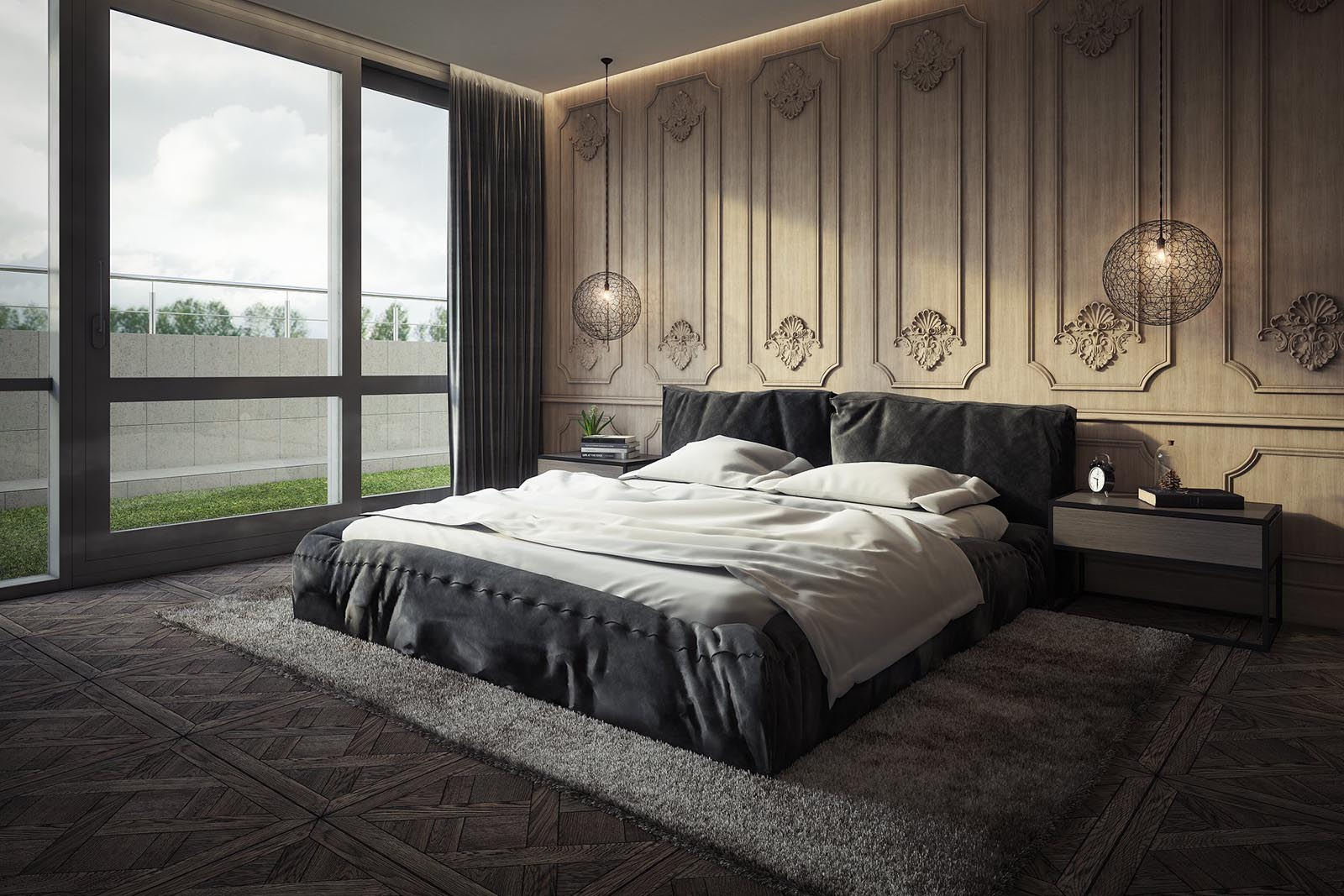 3D interior visualization render of a Modern bedroom.