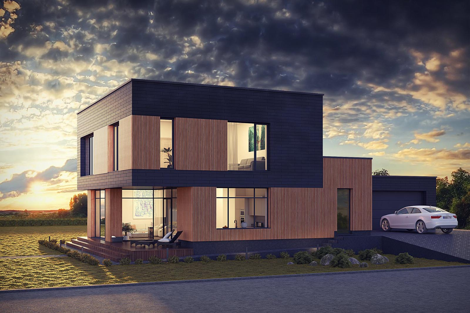 3D visualizations- render of a Modern house-1