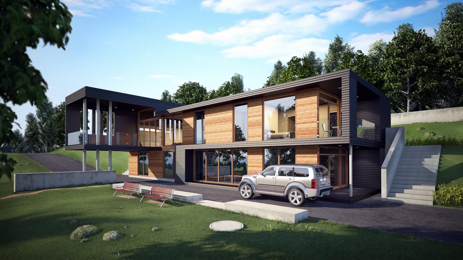 3D visualizations- render of a Modern house-4