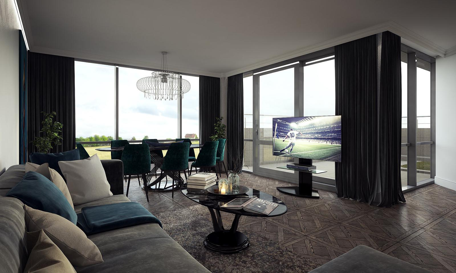 3D Visualization-Modern living room-1