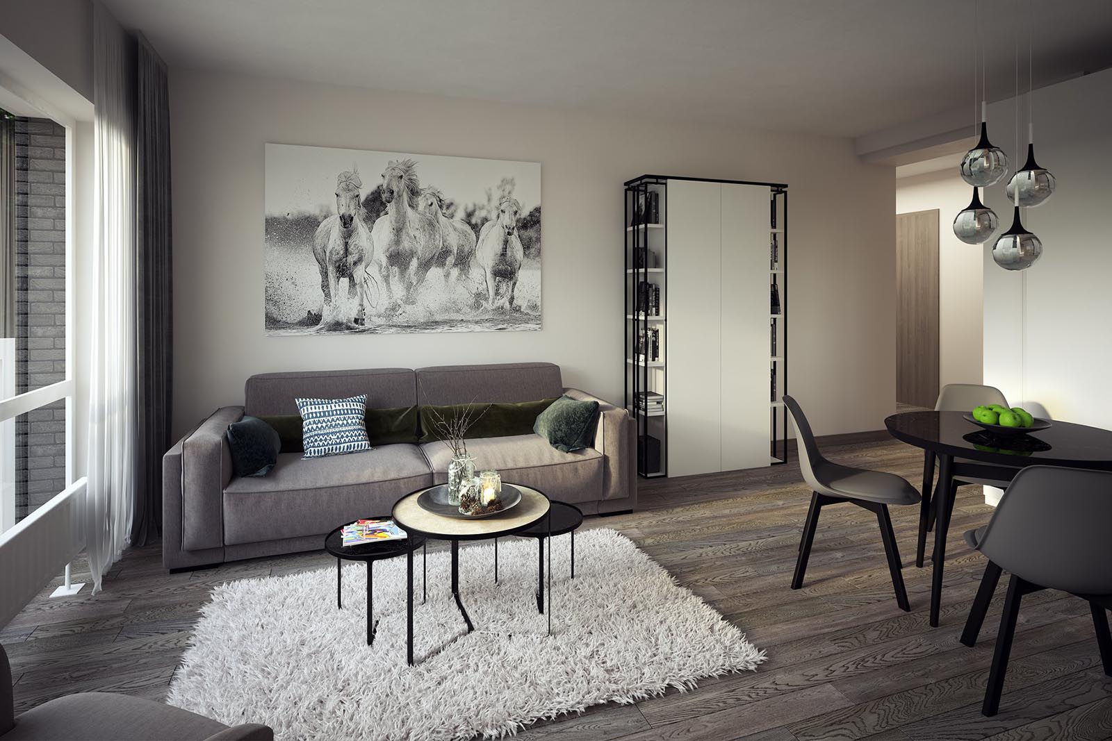 3D interior visualization render of a Modern living room-3