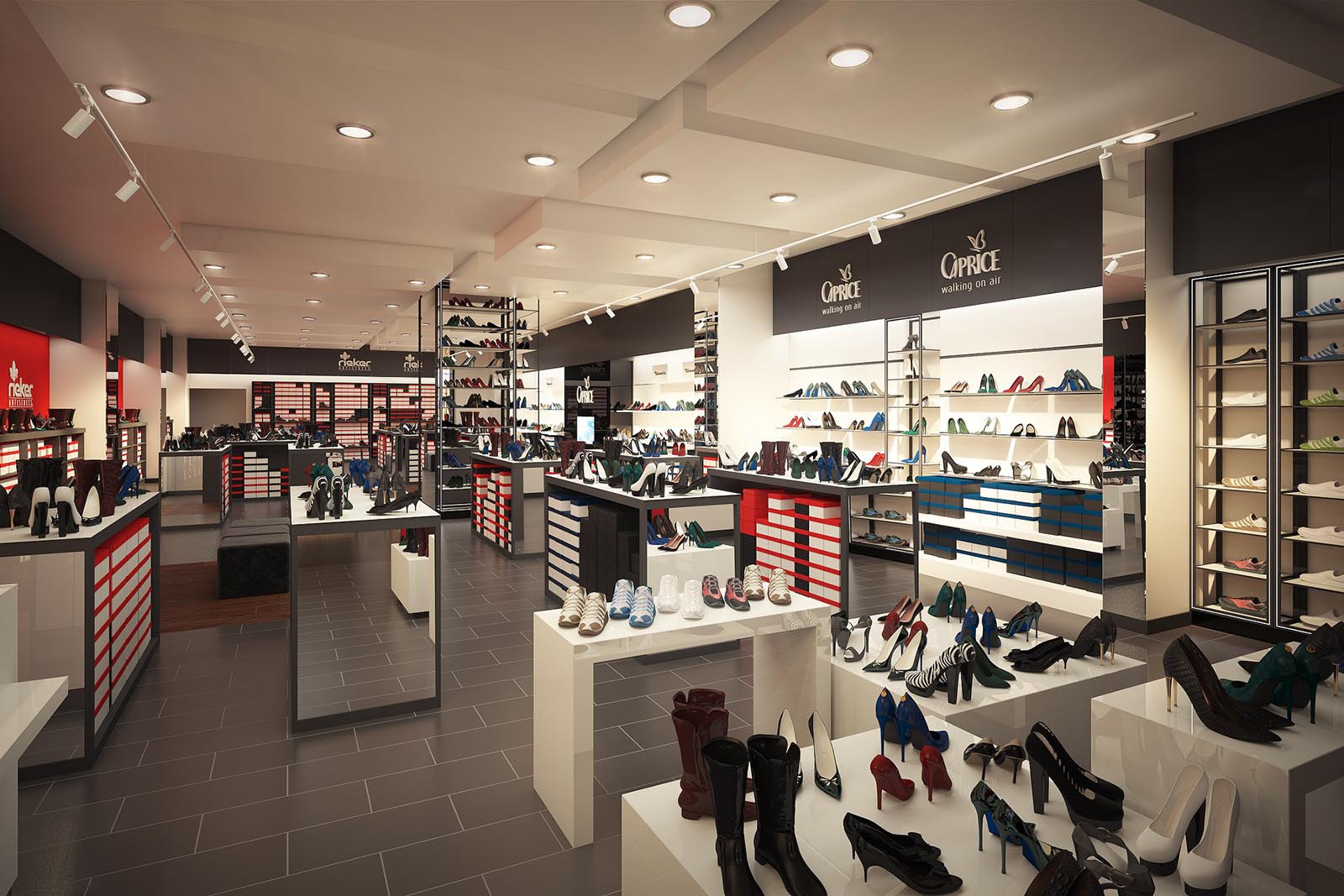 3D visualization render of a Shoe store interior