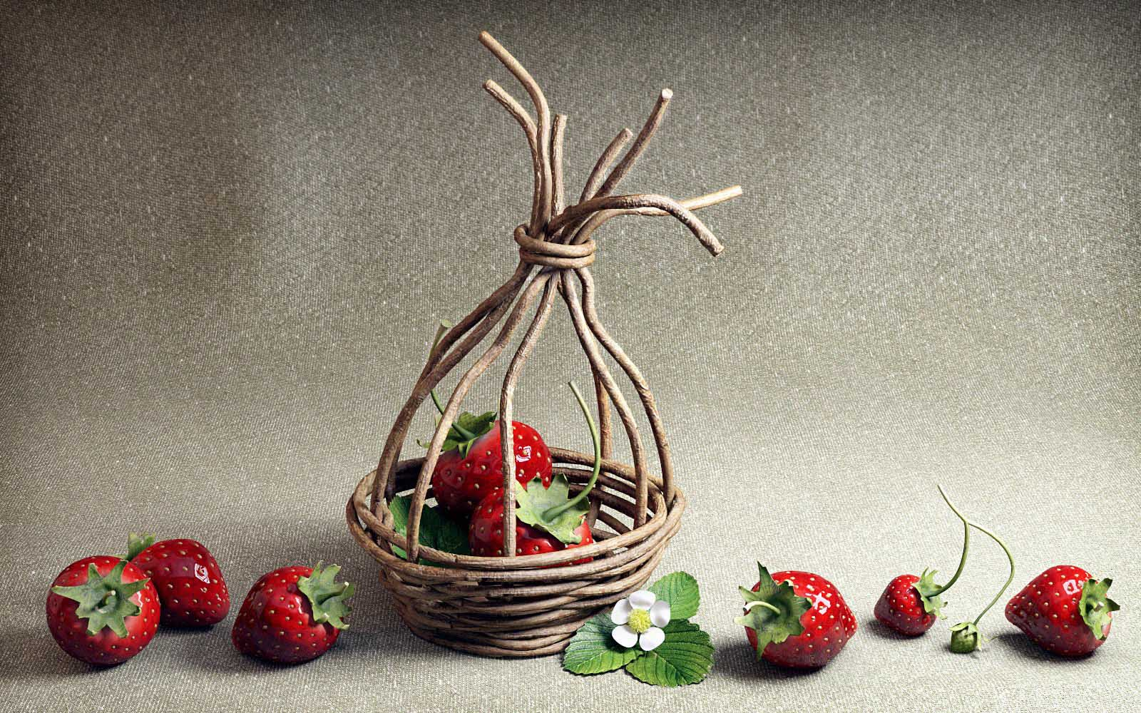 3D visualizations- a render of a Strawberries