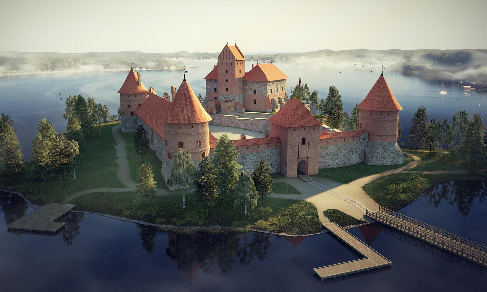 3D visualizations- render of a Trakai island castle-1