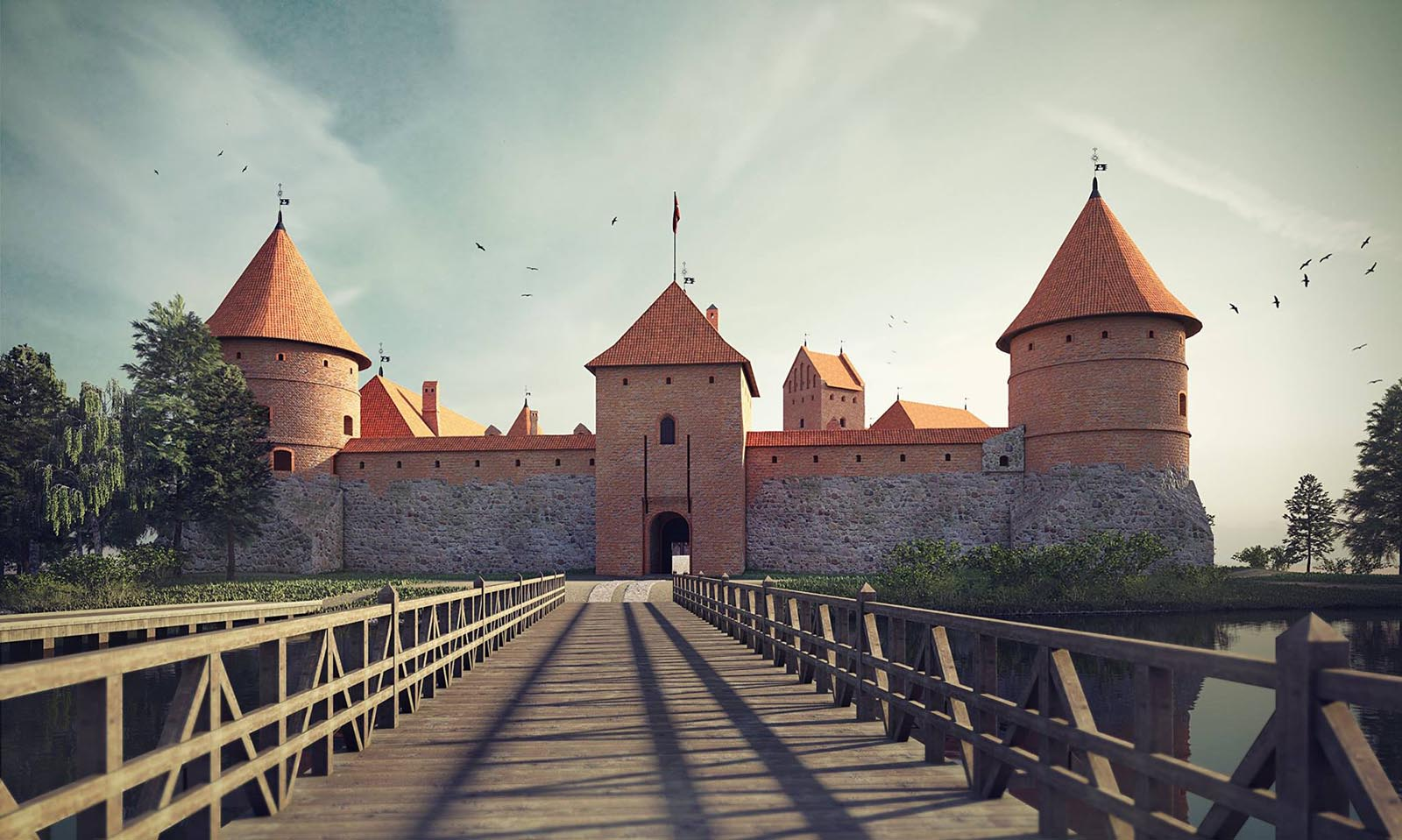 3D visualizations- render of a Trakai island castle-2