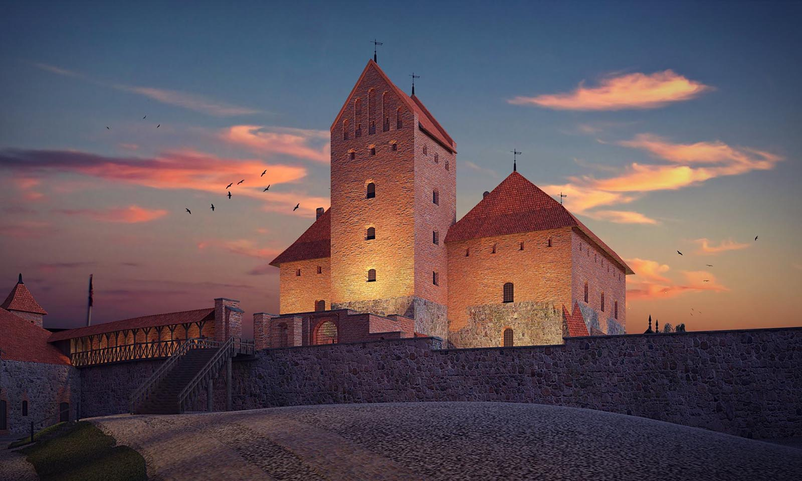 3D visualizations render of a Trakai island castle-3