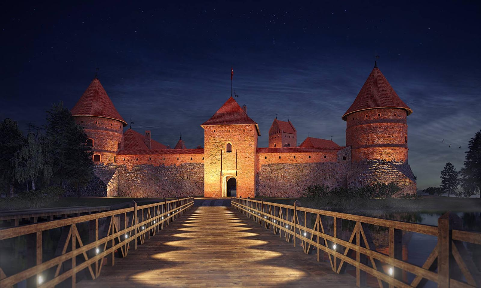 3D visualizations- render of a Trakai island castle-4