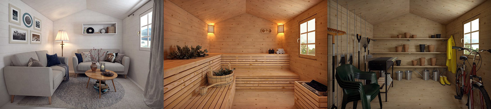 A variation of garden cabin interiors leisure sauna store room