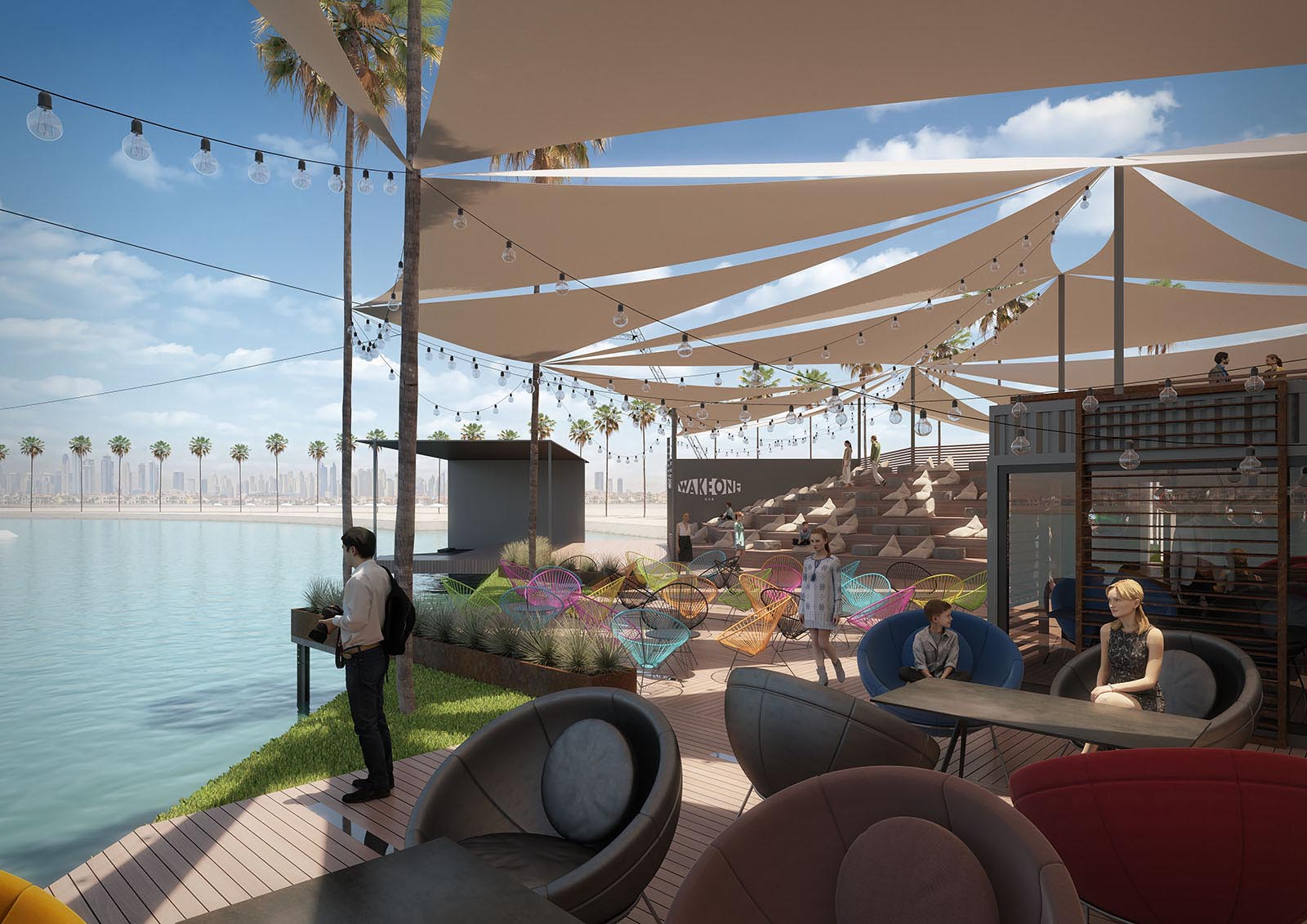 Visualization of a wakeboard park project in Dubai.
