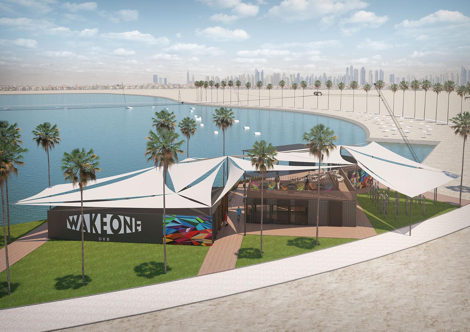 3D vizualization of a wake park, Dubai