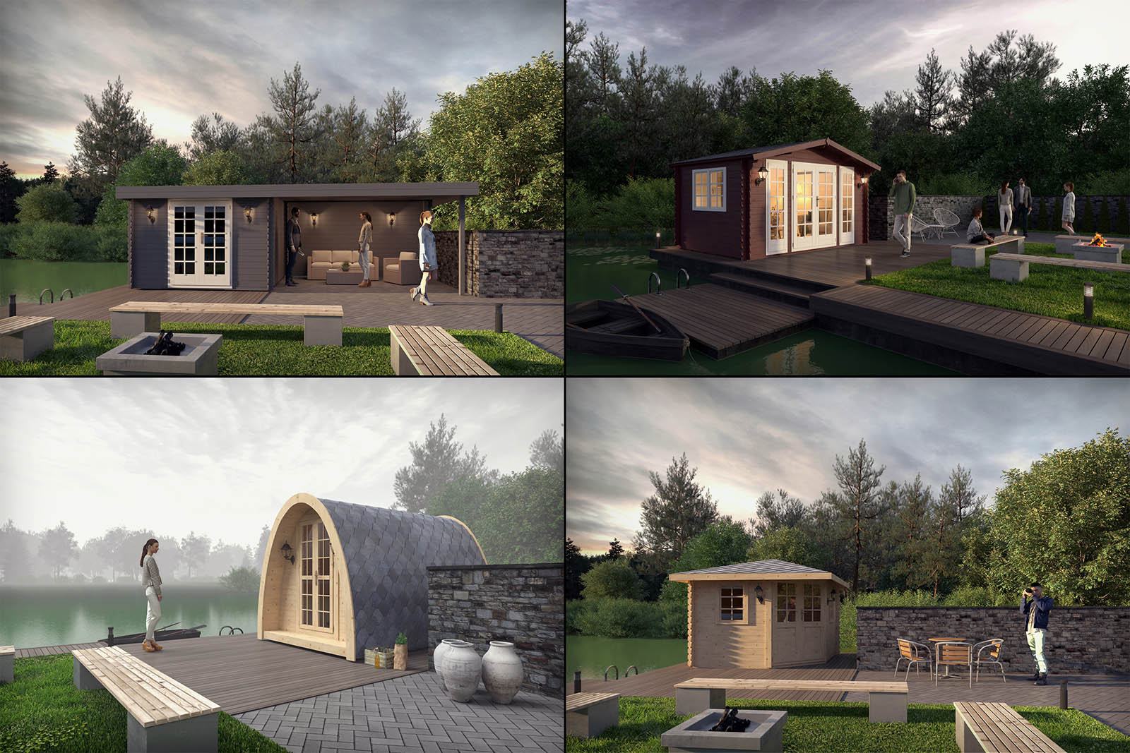 A project to present wooden cabins to the customers, used in a e-shop.